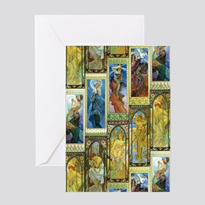 Mucha's Night and Day Greeting Cards