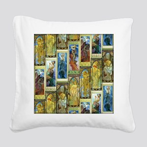 Mucha's Night and Day Square Canvas Pillow