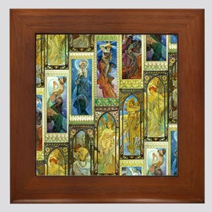 Mucha's Night and Day Framed Tile