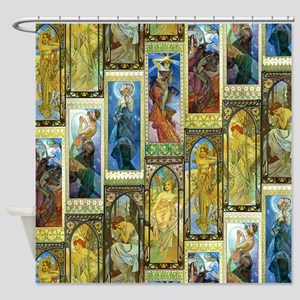 Mucha's Night and Day Shower Curtain