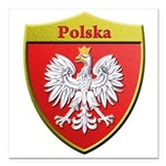 Poland Metallic Shield Square Car Magnet 3