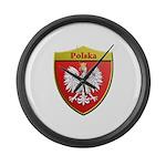 Poland Metallic Shield Large Wall Clock