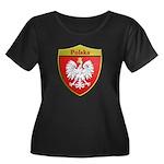 Poland Metallic Shield Plus Size T-Shirt