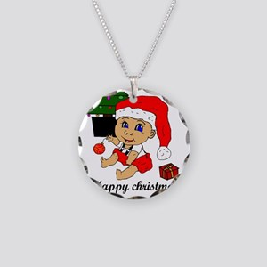 Happy Christmas Baby Necklace Circle Charm