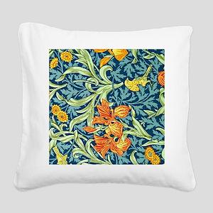 William Morris design: Iris f Square Canvas Pillow