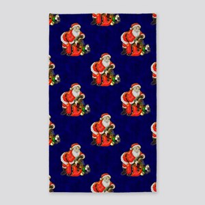Red Santa on Blue 3'x5' Area Rug