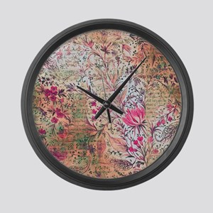 Old paper texture Large Wall Clock