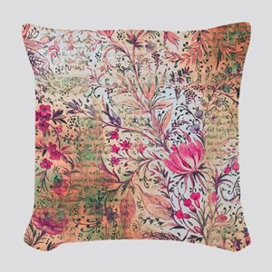 Old paper texture Woven Throw Pillow