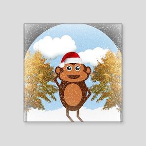 "Christmas Monkey Square Sticker 3"" x 3"""