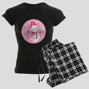 Cute Pink Snowman Joy Women's Dark Pajamas