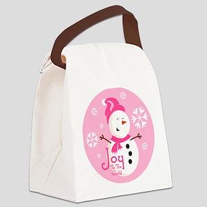 Cute Pink Snowman Joy Canvas Lunch Bag