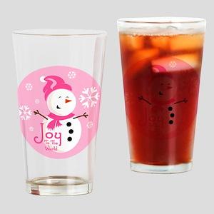 Cute Pink Snowman Joy Drinking Glass