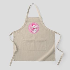 Cute Pink Snowman Joy Apron