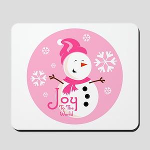 Cute Pink Snowman Joy Mousepad