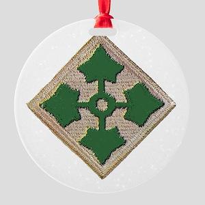 Fourth Infantry Div. Round Ornament