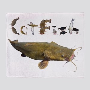 Catfish side font Throw Blanket
