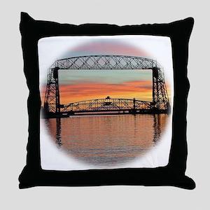 Sunrise under the Bridge Throw Pillow