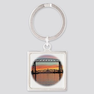 Sunrise under the Bridge Square Keychain