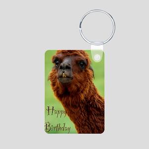 funny alpaca birthday Aluminum Photo Keychain