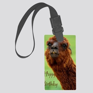 funny alpaca birthday Large Luggage Tag
