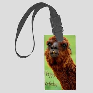 funny alpaca birthday Large Luggage Tag