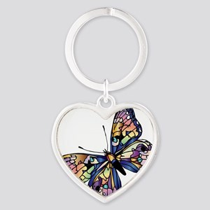 Exotic Butterfly Heart Keychain