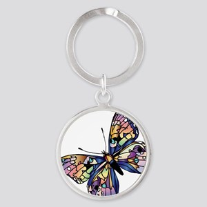 Exotic Butterfly Round Keychain