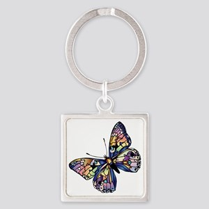 Exotic Butterfly Square Keychain