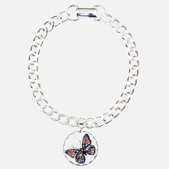 Exotic Butterfly Charm Bracelet, One Charm
