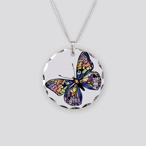 Exotic Butterfly Necklace Circle Charm