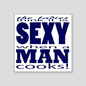 "Sexy Man Blue Square Sticker 3"" x 3"""
