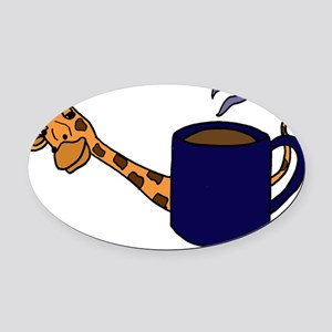 Giraffe Peaking Behind Coffee Mug Oval Car Magnet
