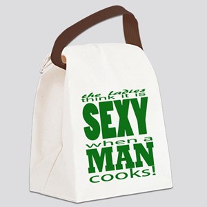 Sexy Man Green Canvas Lunch Bag