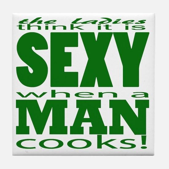 Sexy Man Green Tile Coaster