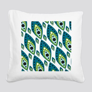 Pretty Feather Blue Green Square Canvas Pillow