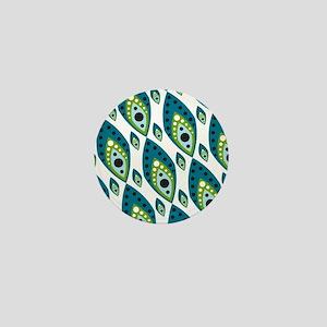 Pretty Feather Blue Green Mini Button