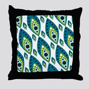 Pretty Feather Blue Green Throw Pillow