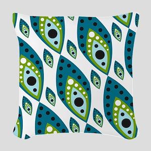 Pretty Feather Blue Green Woven Throw Pillow