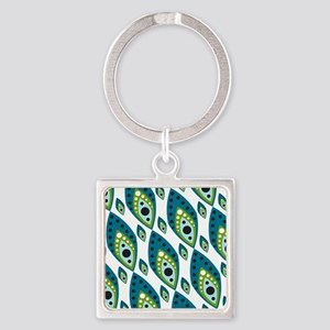 Pretty Feather Blue Green Square Keychain