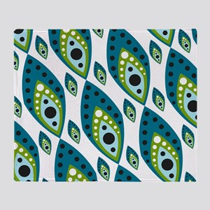 Pretty Feather Blue Green Throw Blanket