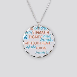 Proverbs 31 Woman Necklace Circle Charm