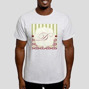 Burgundy and Gold Stripe Damask Mono Light T-Shirt