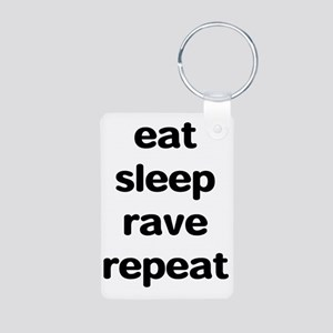 eat sleep rave repeat Aluminum Photo Keychain