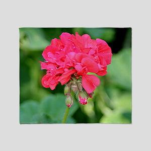 Geranium flower (red) in bloom Throw Blanket