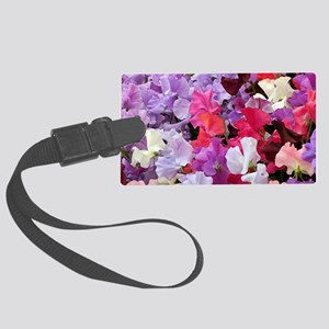Sweet peas flowers in bloom Large Luggage Tag