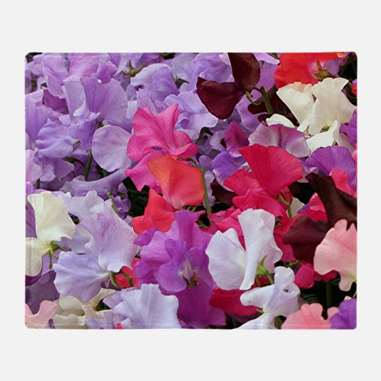 Sweet peas flowers in bloom Throw Blanket