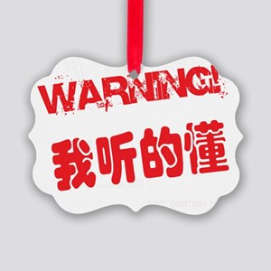 Warning I Understand Chinese Bill Picture Ornament