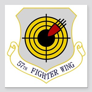 """57th Fighter Wing Square Car Magnet 3"""" x 3"""""""