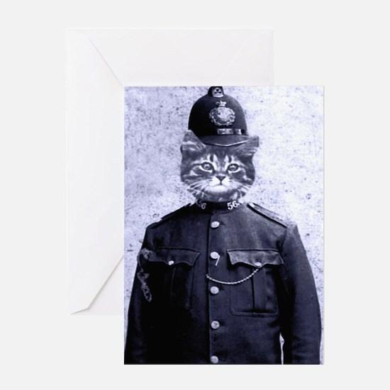 Policeman Cat Greeting Card