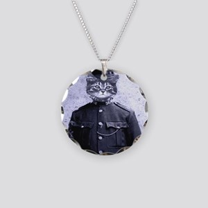 Policeman Cat Necklace Circle Charm